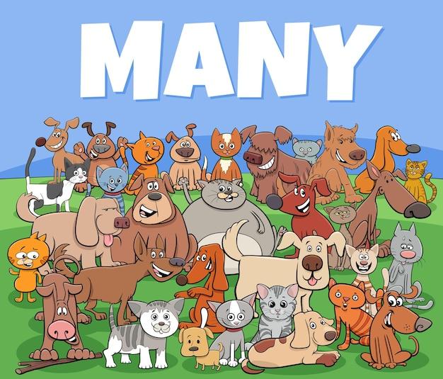Groupe de personnages de dessins animés de nombreux chiens et chats