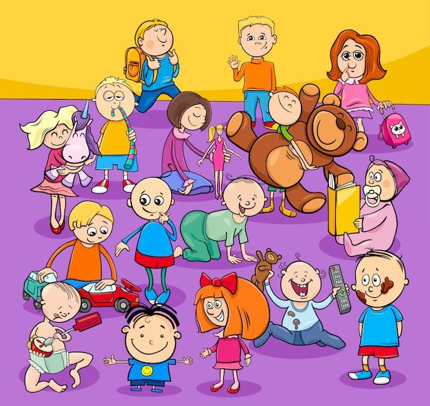 Groupe de personnages de dessins animés pour tout-petits et enfants