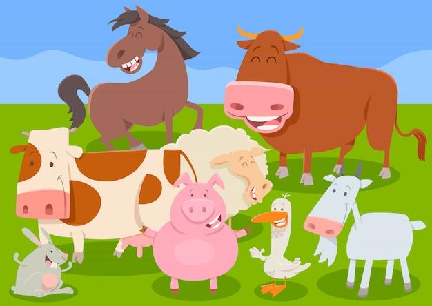 Groupe de personnages drôles animaux de ferme