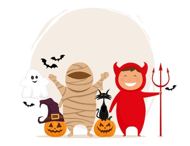 Groupe de personnages drôles d'halloween d'enfants en costumes isolés sur fond blanc