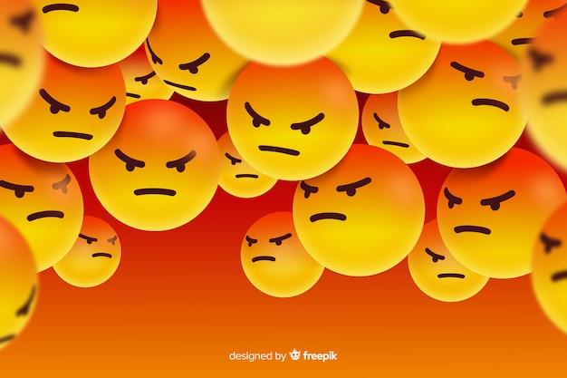 Groupe de personnages emoji en colère