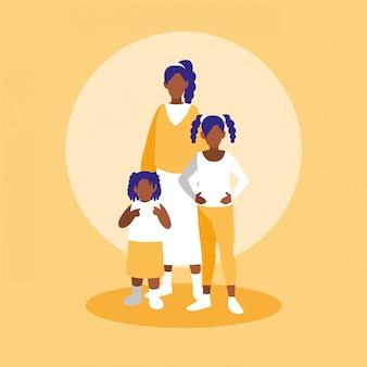 Groupe de personnages de famille noirs