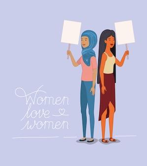 Groupe de personnages féminins avec un message féministe