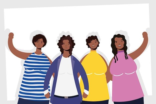 Groupe de personnages de femmes afro