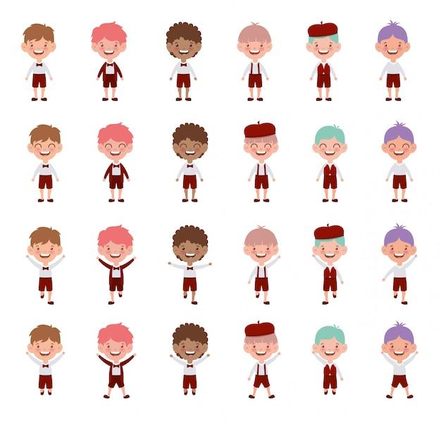 Groupe de personnages de jeunes étudiants