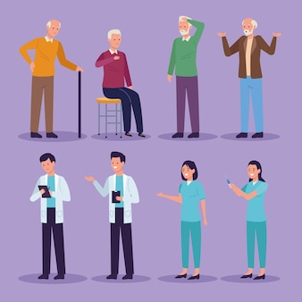 Groupe de personnages de la maladie d'alzheimer