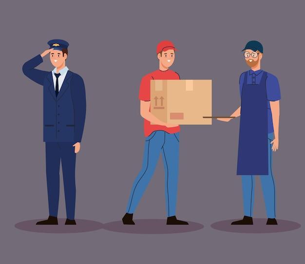 Groupe de personnages masculins de travailleurs