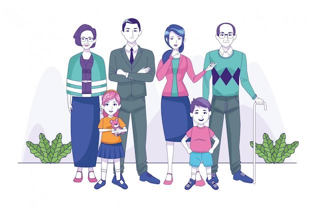 Groupe de personnages membres de la famille