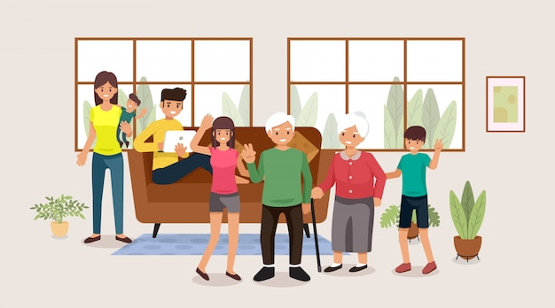 Groupe de personnages de personnages de dessins animés plats ensemble, illustration