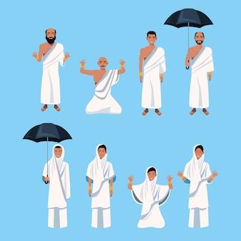 Groupe de personnages de personnes islamiques vector design illustration