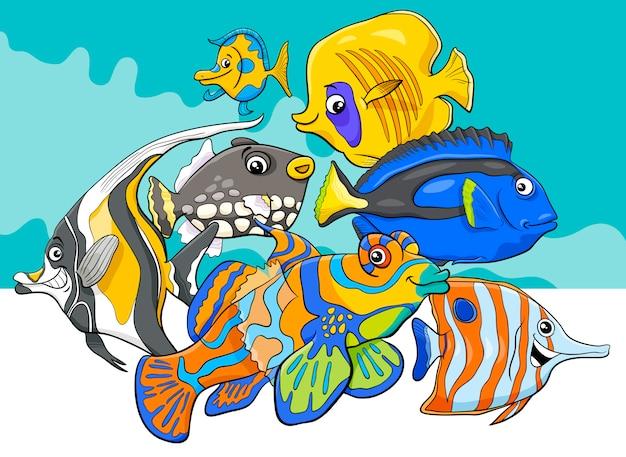 Groupe de personnages de poissons tropicaux