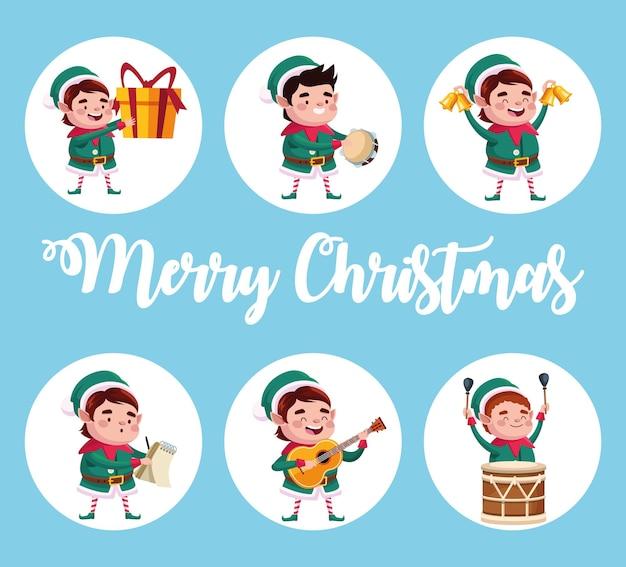 Groupe de personnages de santa helpers avec illustration de cadeaux et instruments