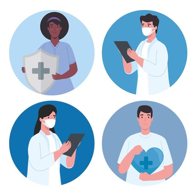 Groupe de personnel médical de travailleurs interraciaux avec illustration de bouclier du système immunitaire