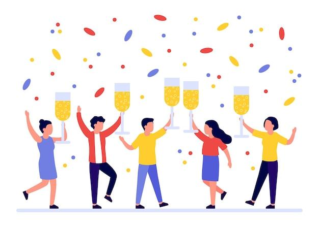 Groupe de personnes accueillant des vacances avec du champagne dans les mains félicitations pour noël nouvel an