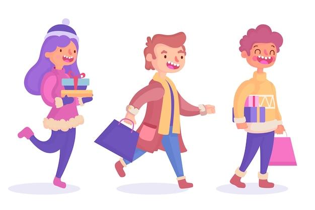 Groupe de personnes achetant des cadeaux pour noël