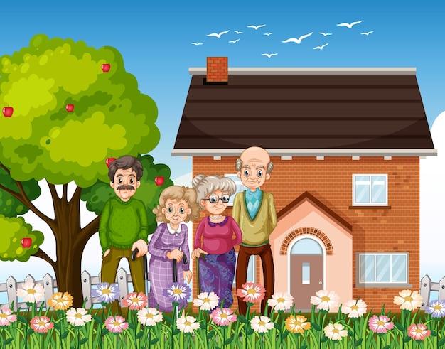 Groupe de personnes âgées debout devant une maison