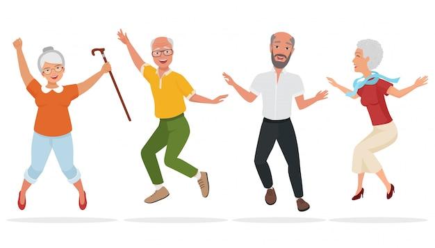 Groupe de personnes âgées ensemble