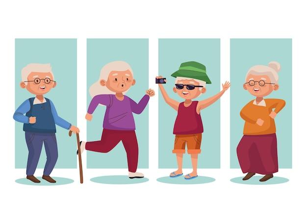 Groupe de personnes âgées personnages seniors actifs