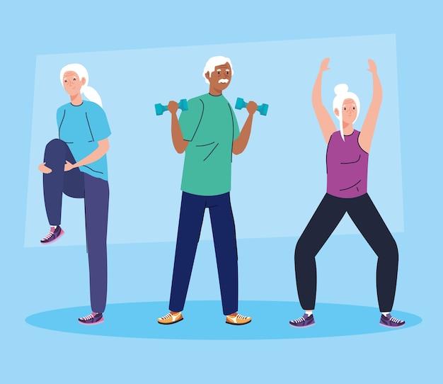 Groupe de personnes âgées pratiquant le sport.