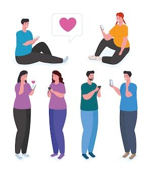 Groupe de personnes à l'aide du concept de smartphone, de médias sociaux et de technologie de communication