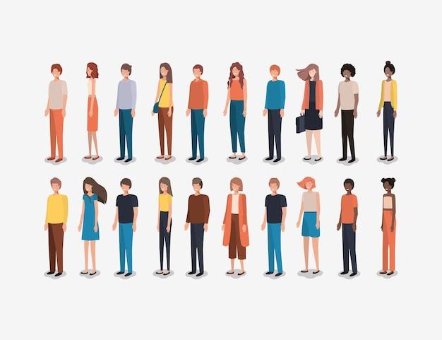 Groupe de personnes amis personnages