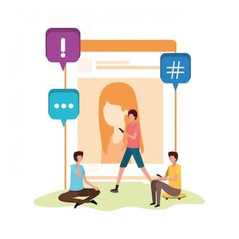 Groupe de personnes assises avec avatar de profil de réseau social