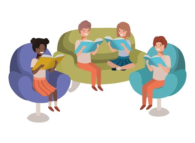 Groupe de personnes assises dans le canapé avec personnage avatar de livre