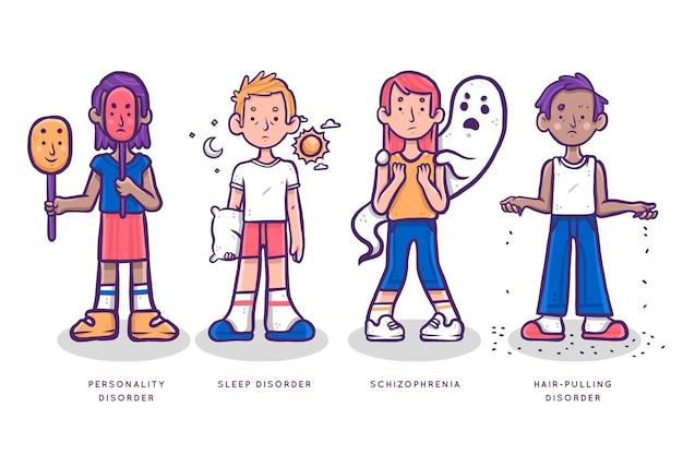 Groupe de personnes ayant différents troubles mentaux