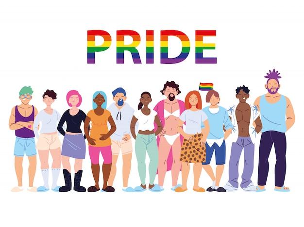 Groupe de personnes ayant le symbole de la fierté gay lgbtq, l'égalité et les droits des homosexuels