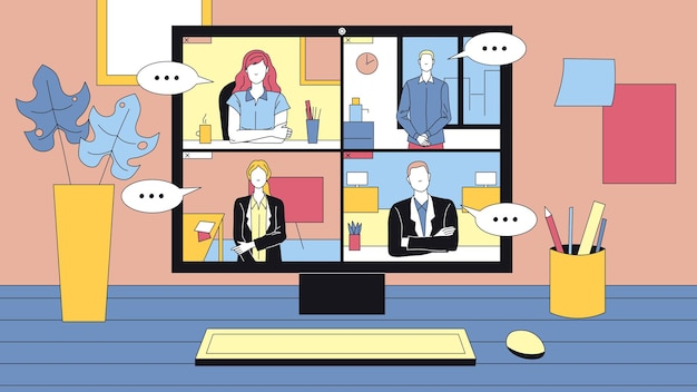 Groupe de personnes ayant une vidéoconférence en ligne. ordinateur de bureau debout sur la table et ses environs. appel d'affaires de technologie moderne. employés masculins et féminins.