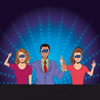 Groupe de personnes avec casque de réalité virtuelle