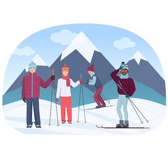 Un groupe de personnes chevauchant un ciel dans les montagnes vector illustration. les gens de ski.