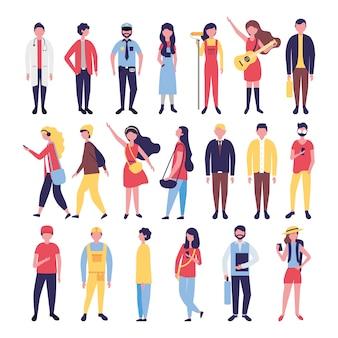 Groupe de personnes de la communauté regrouper des personnages