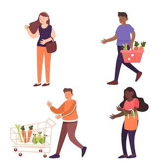 Groupe de personnes avec concept alimentaire