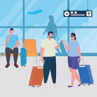 Groupe de personnes dans le terminal de l'aéroport, passagers au terminal de l'aéroport avec des bagages