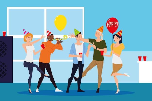 Groupe de personnes dansant la fête avec des ballons et des boissons
