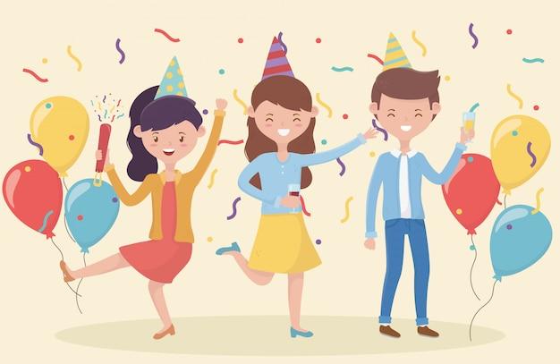 Groupe de personnes dansant fête