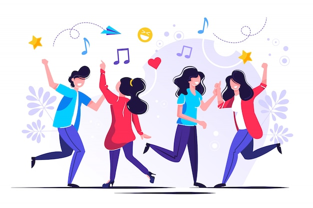 Un groupe de personnes dansant et s'amusant à la musique