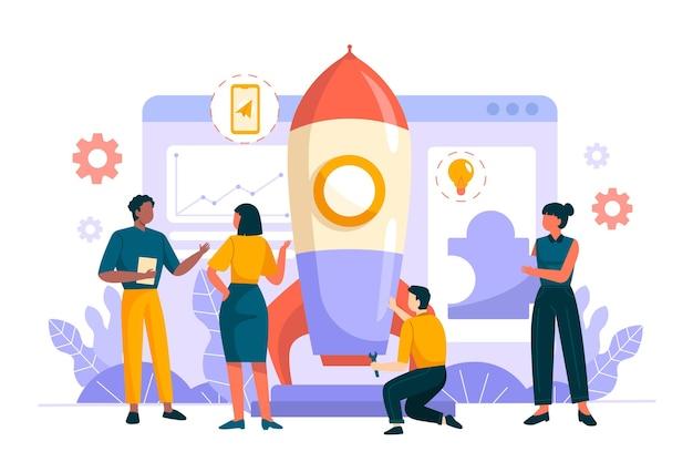 Groupe de personnes démarrant un projet d'entreprise