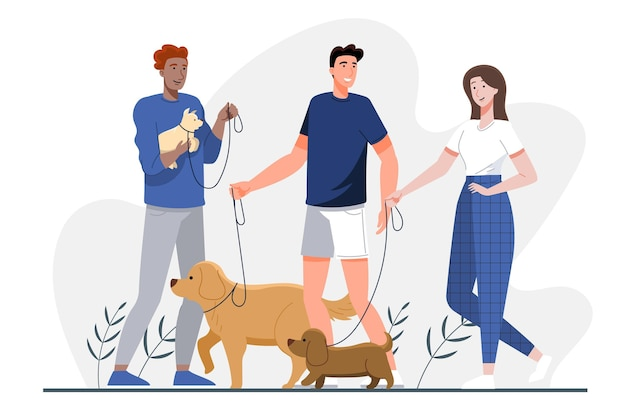 Groupe de personnes design plat avec des animaux domestiques