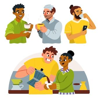 Groupe de personnes dessinés à la main avec des boissons chaudes