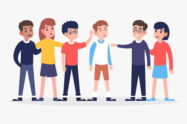 Groupe de personnes différentes étant ensemble