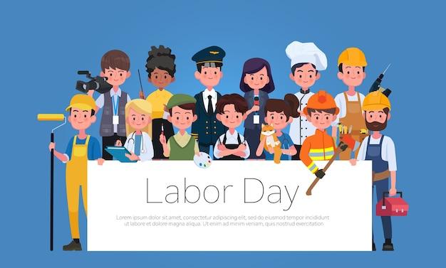 Groupe de personnes différentes professions ensemble, illustration plate de la fête internationale du travail