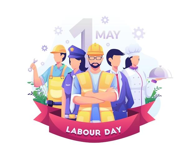 Un groupe de personnes de différentes professions fête du travail le 1er mai illustration