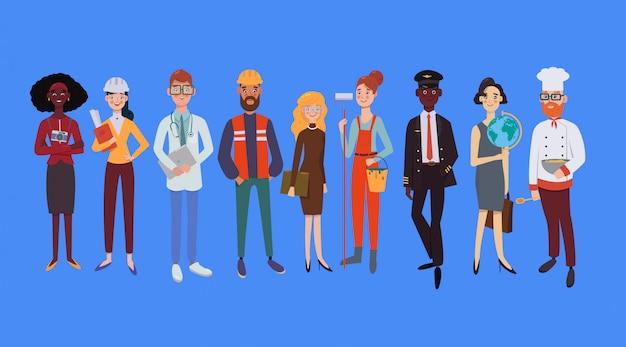 Groupe de personnes de différentes professions