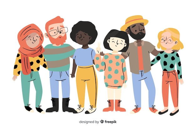 Groupe de personnes de différentes races