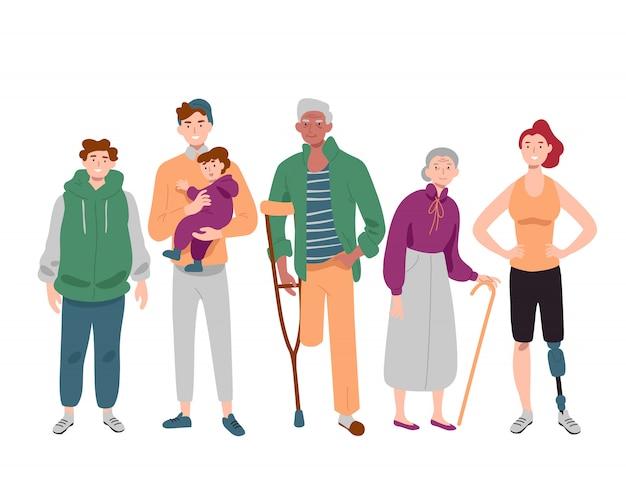 Groupe de personnes diverses d'âge mixte debout ensemble