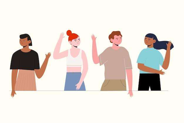 Groupe de personnes diversifié concept haut cinq
