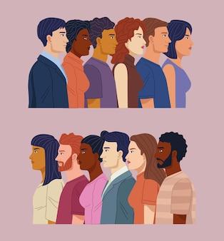 Groupe de personnes de diversité