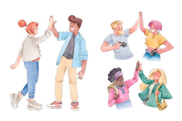 Groupe de personnes donnant cinq haut